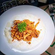 Homemade Tagliatelle alla Bolognese
